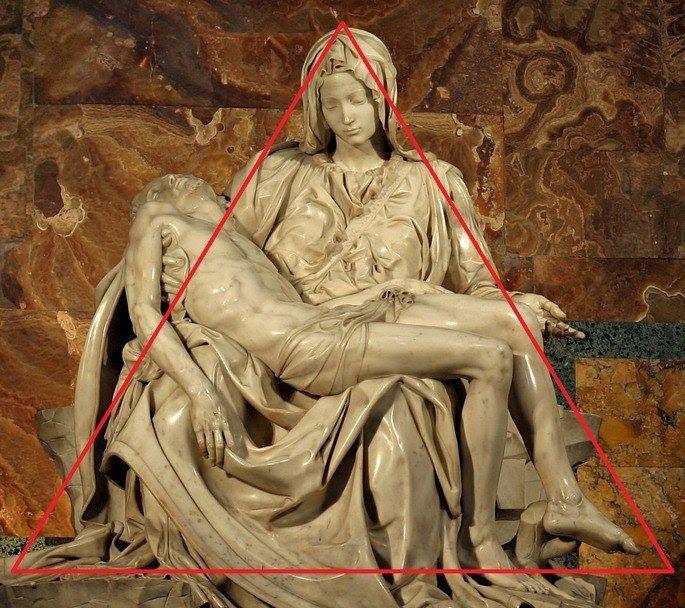 Pieta, detalhe: formato de piramide